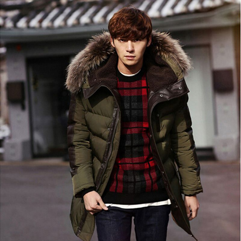 2017 winter jacket men blue green Thick warm parka men With fur ...