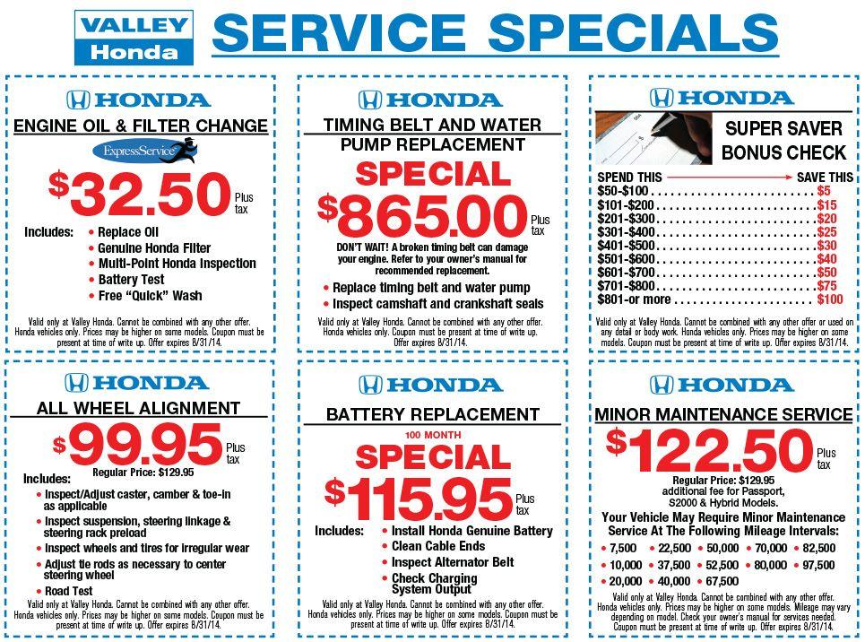 Service Specials Coupons August Car Oil Change Oil Change Honda Service