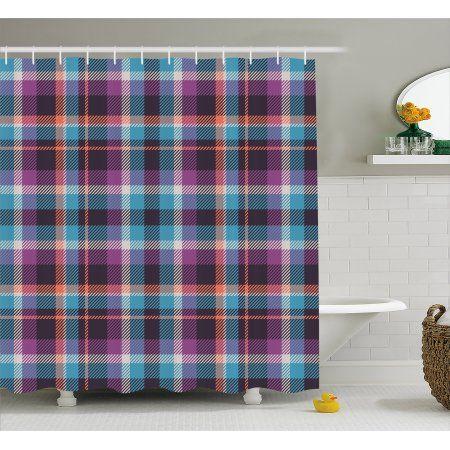 Checkered Shower Curtain Celtic Tartan Irish Culture Scotland Country Antique Tradition Tile Fabric Bathroom
