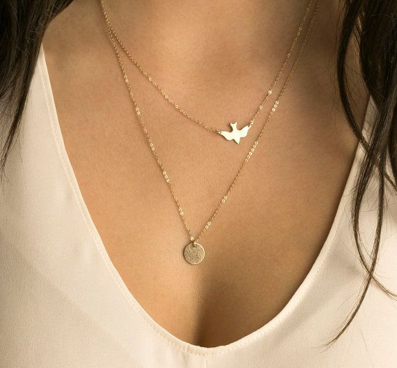 New fashion handmade jewelry summer simple wild lady double peace pigeons gold plated necklace