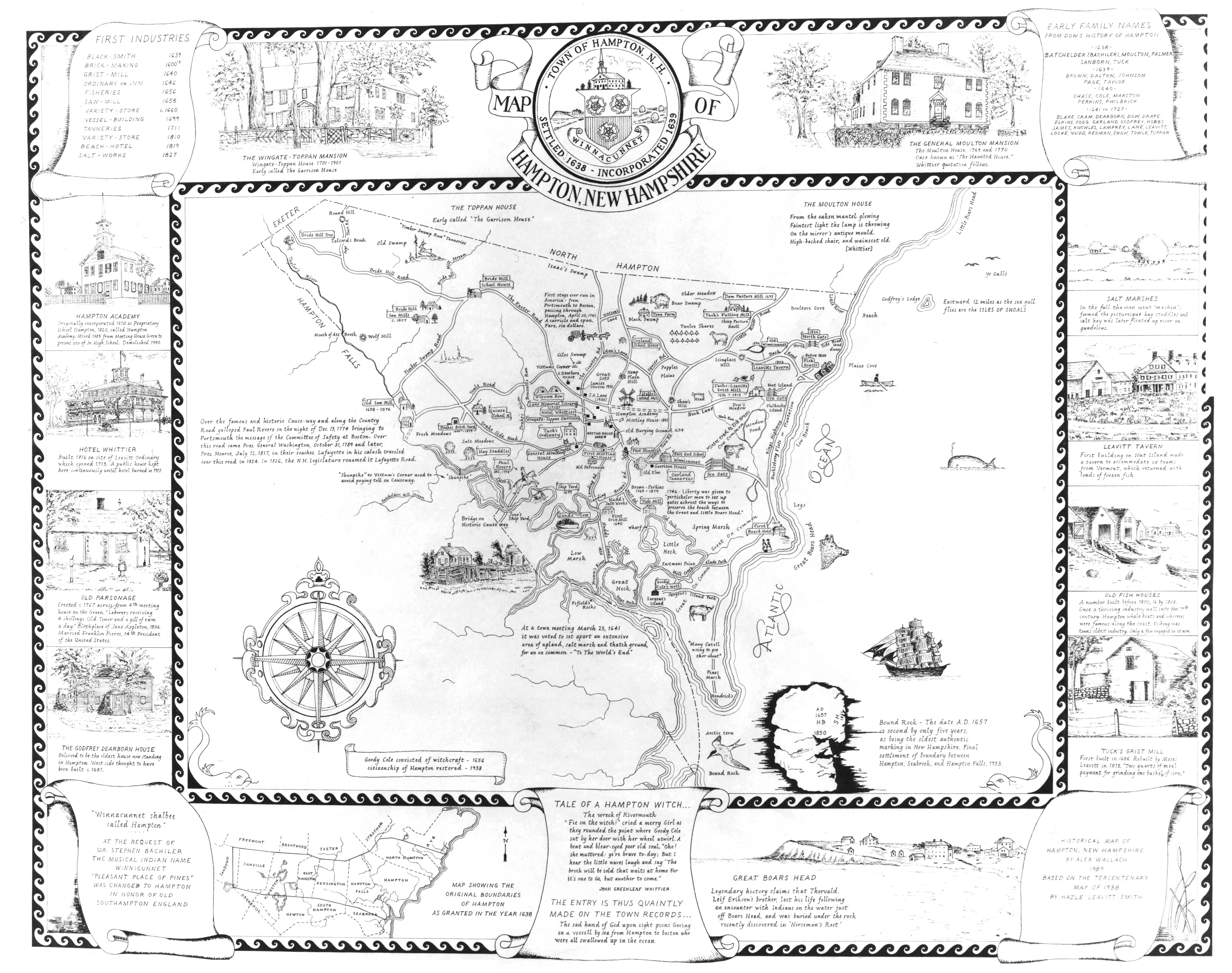 Map of Hampton, NH. Early Family Names 1638-1727
