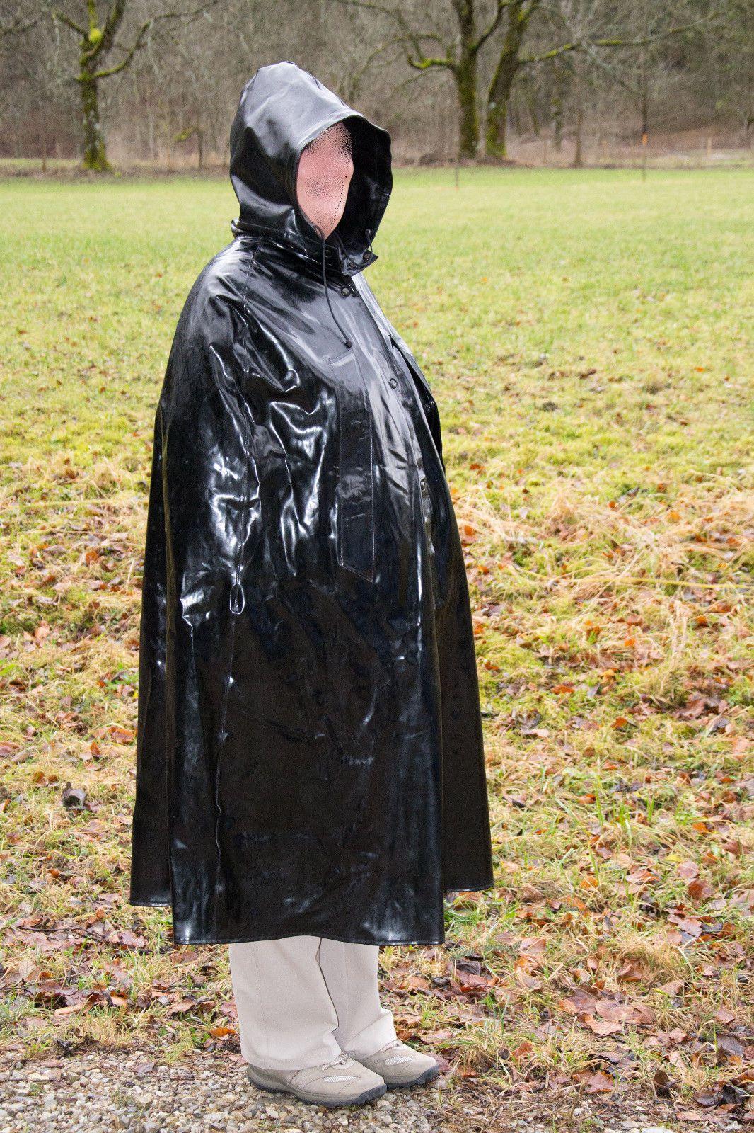 XXL Regencape Cape mit Kapuze 1,27 lang Gummi Regenmantel