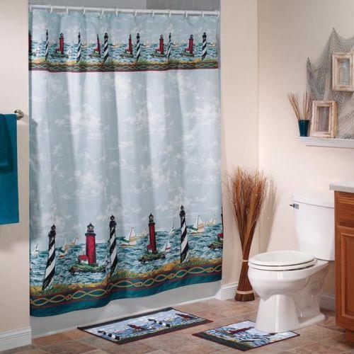Cape May Lighthouse Fabric Shower Curtain Bath Ocean Beach Sea ...