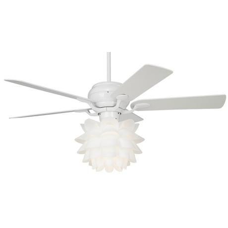 52 Casa Optima Flower Light Kit White Ceiling Fan White