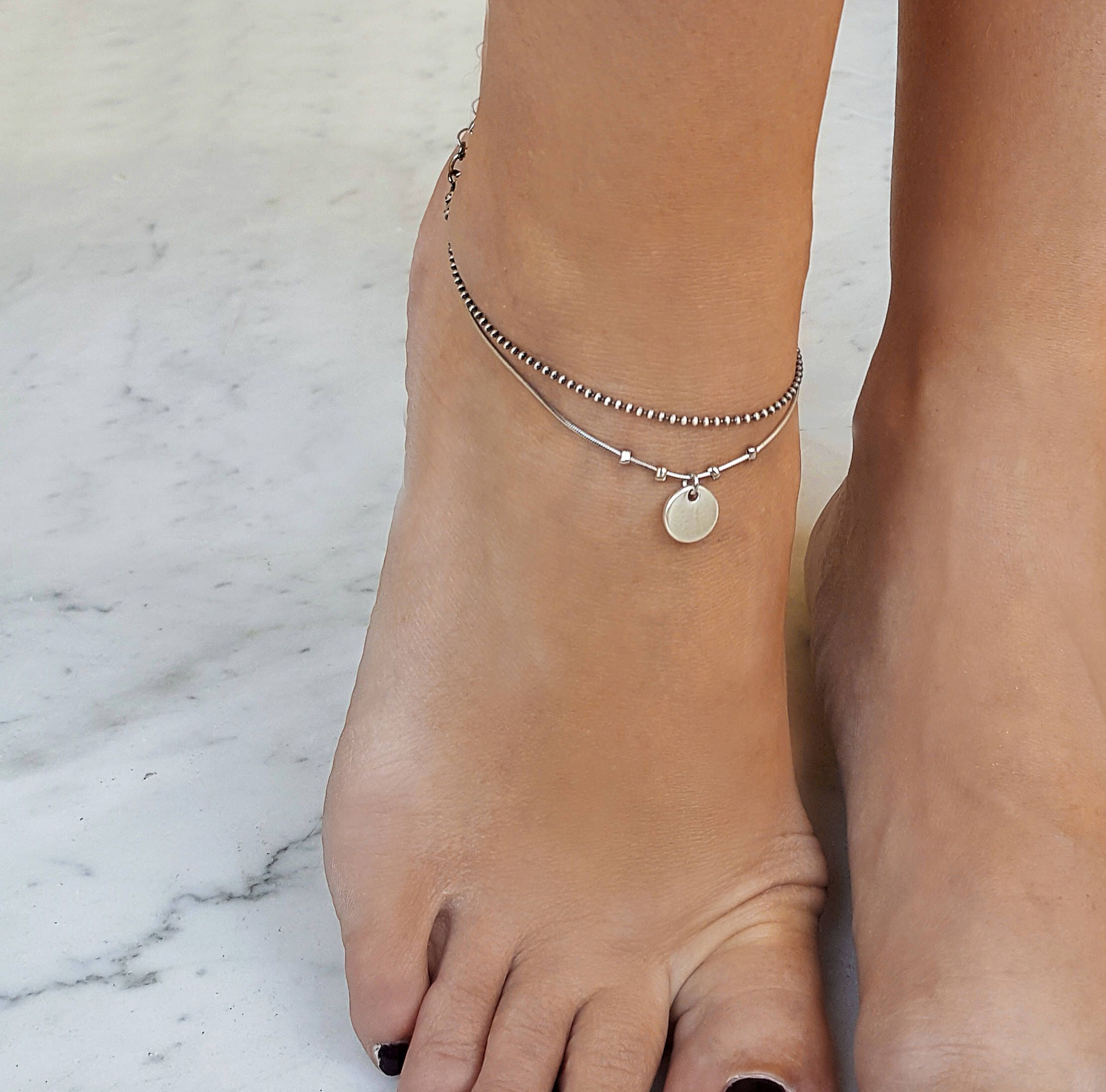 bracelets girls ribbon sandals beach store sandal anklet purple anklets sliver barefoot for glass black imtation jewelry ankle simple design pearl foot product