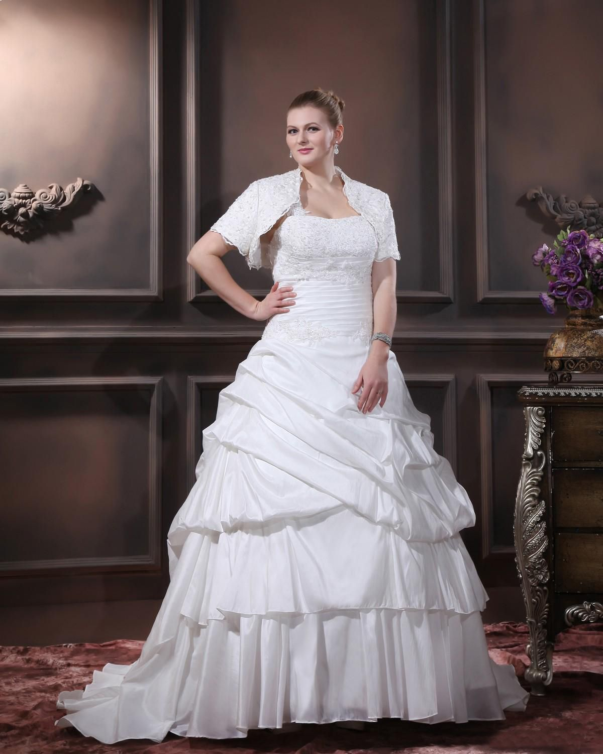 One Shoulder Court Plus Size Bridal Gown Wedding Dress
