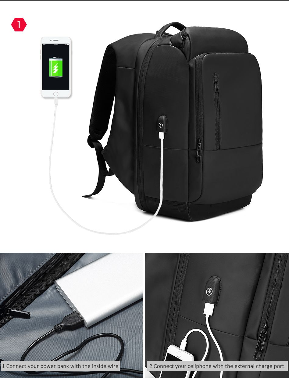 b3635b34d04 Waterproof Travel Backpack, 17 inch Laptop Backpack For Men Water Repellent Functional  Rucksack with USB Charging Port Travel Backpacks.