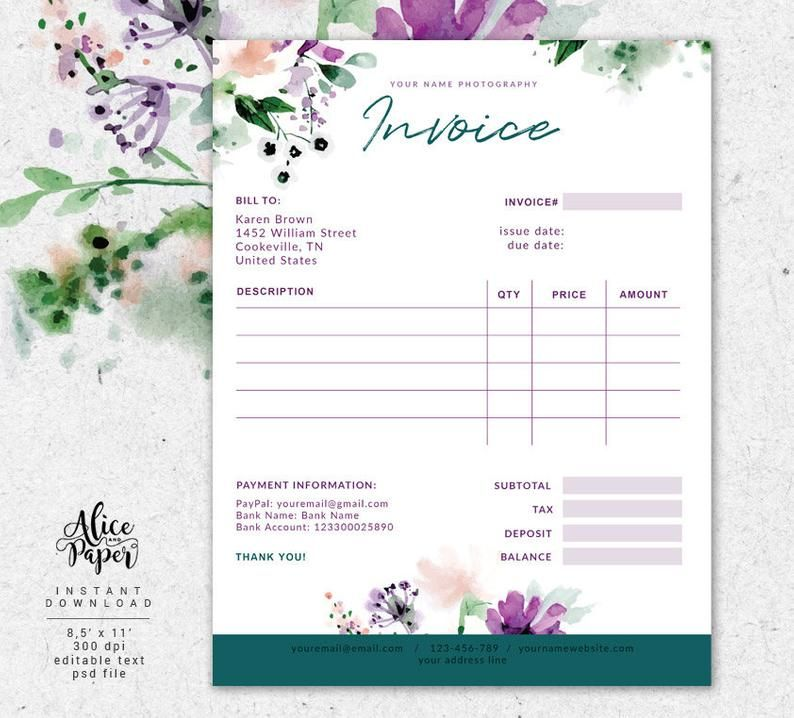 Invoice Template Photography Invoice Receipt Template For Etsy In 2021 Photography Invoice Invoice Template Receipt Template