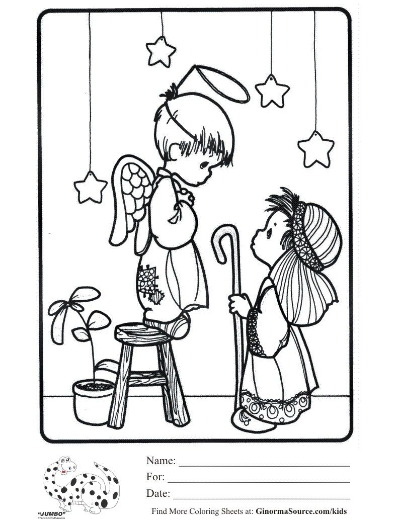 precious moments christmas play coloring sheet