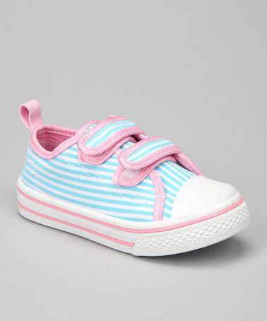 Take a look at this Light Blue Stripe Adjustable Sneakers by Hip Kicks: Canvas Sneakers on @zulily today!
