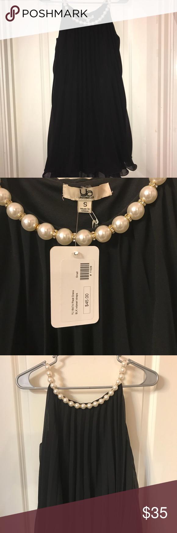 Black Dress With Pearls Around Neck Black Dress Ya Los Angeles Dress Pearl Dress [ 1740 x 580 Pixel ]