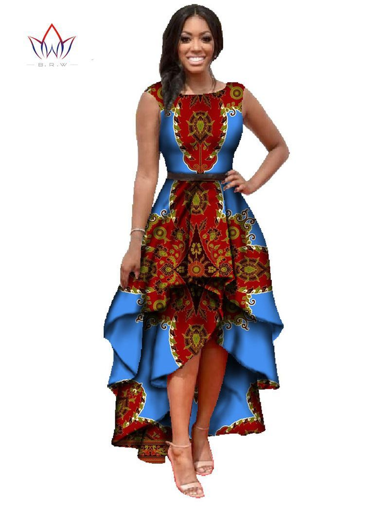African dashiki ankara dresses with cascading ruffle African fashion designs pictures