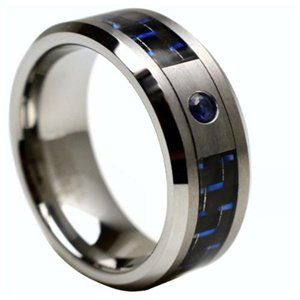 Blue Carbon Fiber Inlay With Blue Sapphire Tungsten Ring 1 Of 2 Rings For Men Engagement Rings For Men Tungsten Carbide Rings