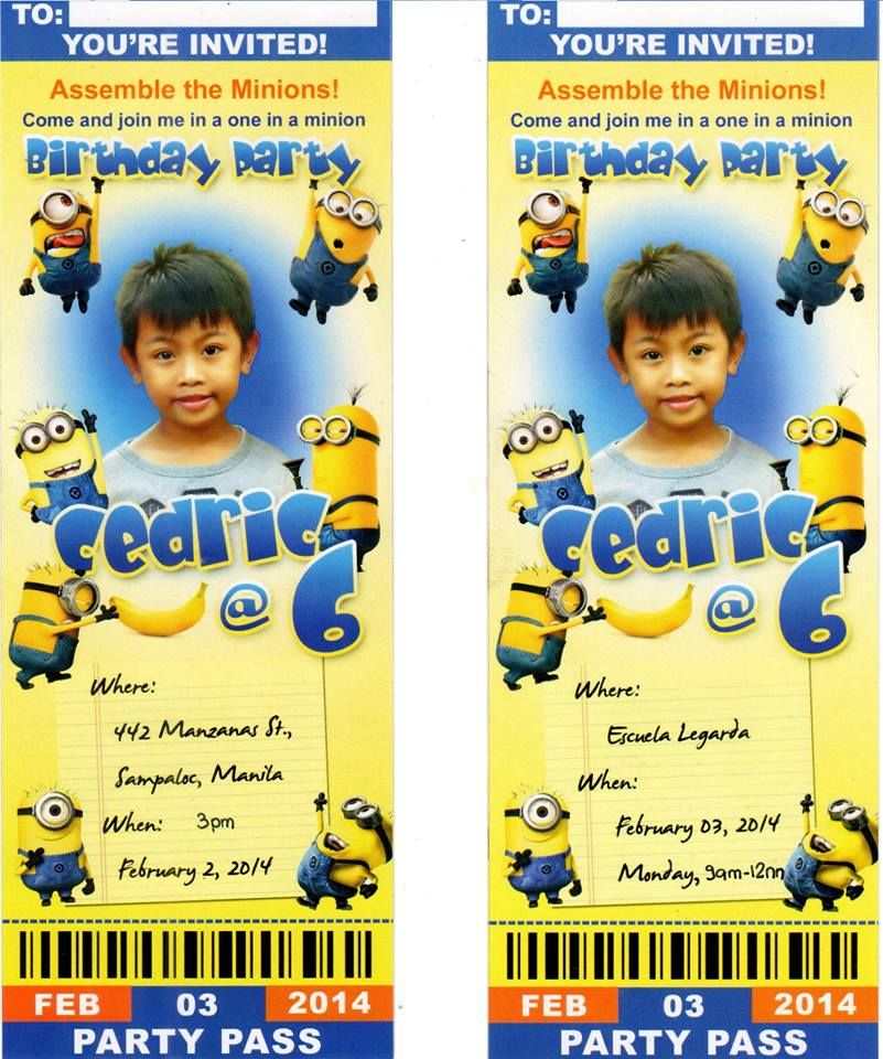Minion invitation card One in A Minion Birthday party Pinterest