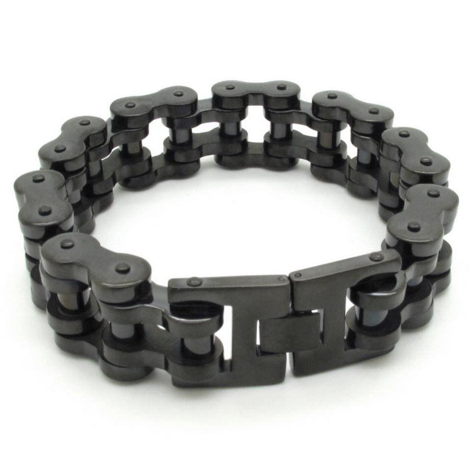 Black Stainless Steel Motorcycle Chain Bracelet