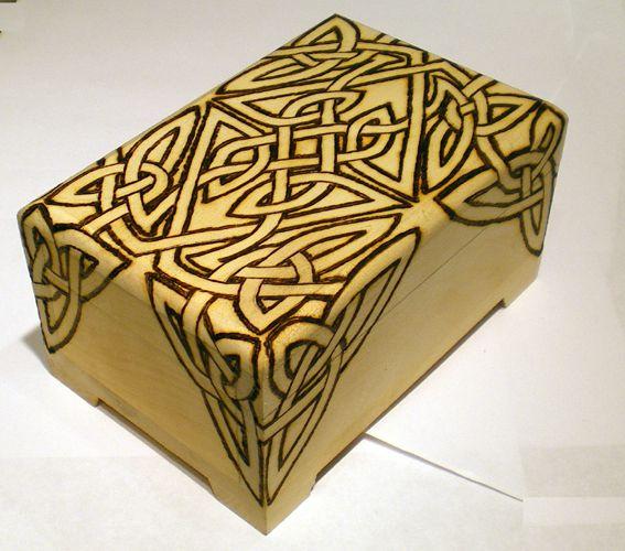 Celtic wood burning patterns custom wood burned box for a for Wood burning design ideas