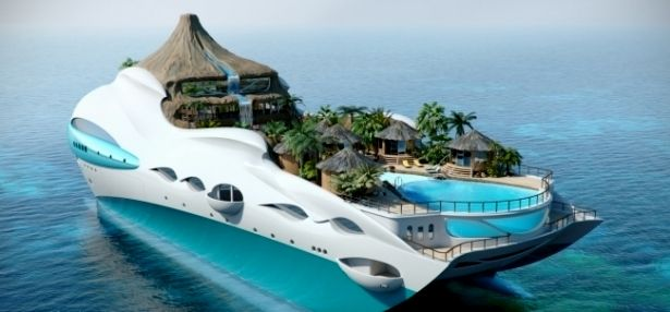 The 90m Tropical Island Paradise Yacht design has a theme that is centred around a secluded island paradise, with elements inspired by the islands of the Caribbean. The main exterior deck is a private beach cove with a voluminous ocean view swimming pool located forward that is fed by a stream emanating from a cascading waterfall on the volcano further aft.