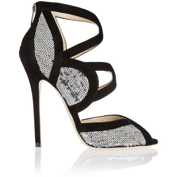 Jimmy Choo Tempest suede-trimmed sequin-embellished pumps (£260) ❤ liked on Polyvore featuring shoes, pumps, heels, silver, leather platform shoes, almond toe pumps, jimmy choo pumps, platform pumps and sequin shoes