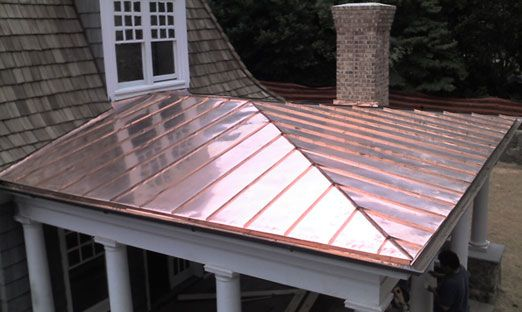 Copper roof on porch photo standing seam copper porch for Copper standing seam roof