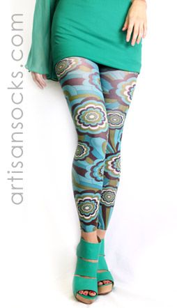 ae4b9960c04f4 Plus Size Turquoise Retro Floral Print Footless Tights | Wish List ...