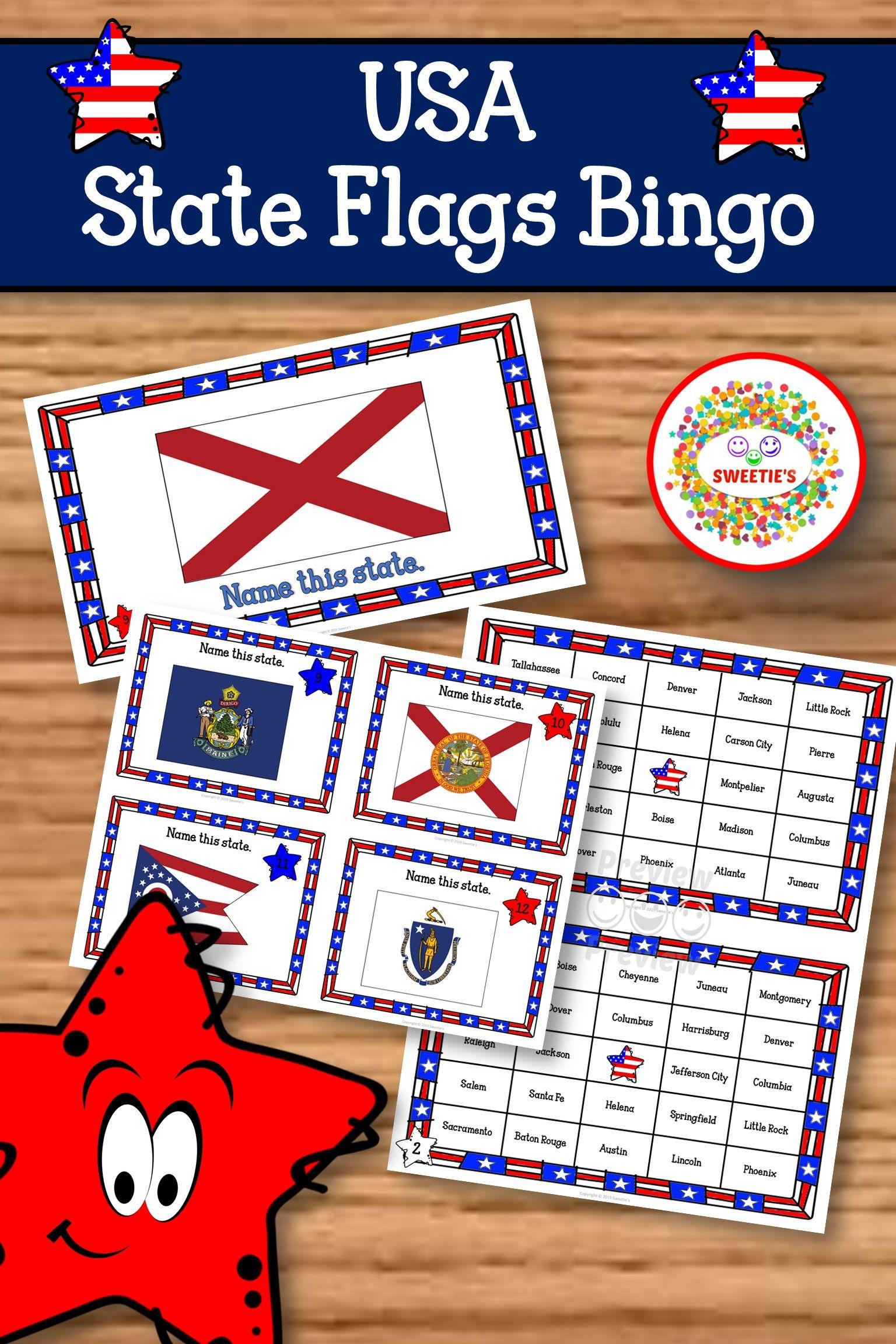 Us States Bingo Game State Flags