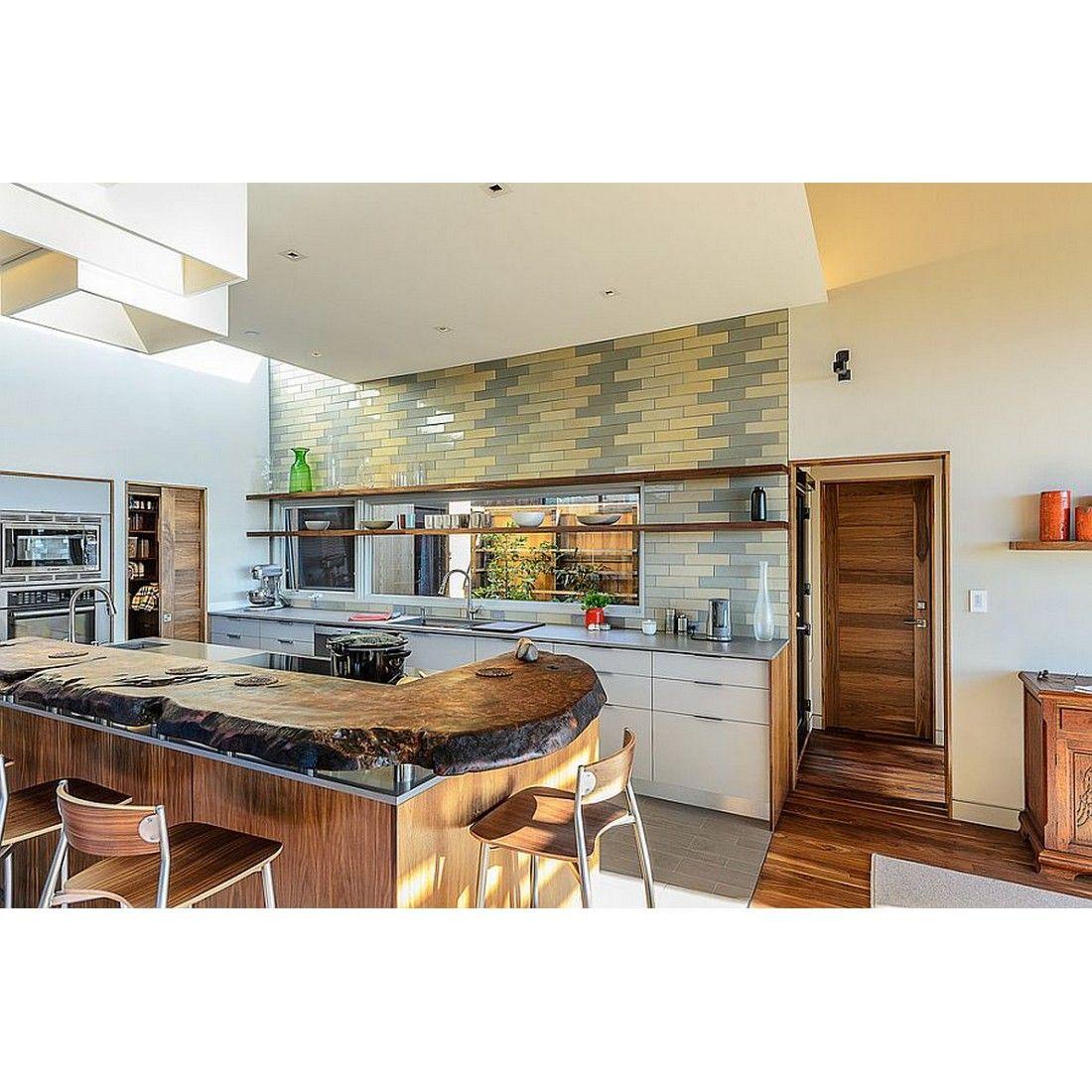 - Midcentury Kitchen With Gray And Yellow Backsplash Tile, Yay Or