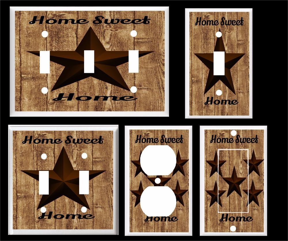 Rustic Light Switch Covers Rustic Barn Star Home Sweet Home Brown Tones Light Switch Cover