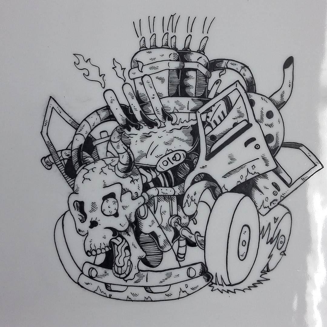 dessin #illustration #drawing #draw #skull #bones #dead #death ...