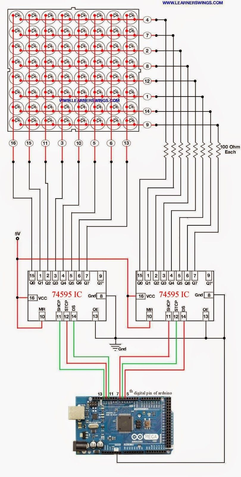 Simple method to control 88 led matrix using shift register ic led matrix using shift register ic 74595 and arduino mega read more at httplearnerswings201408simple method to control 88 led matrix ml swarovskicordoba Choice Image