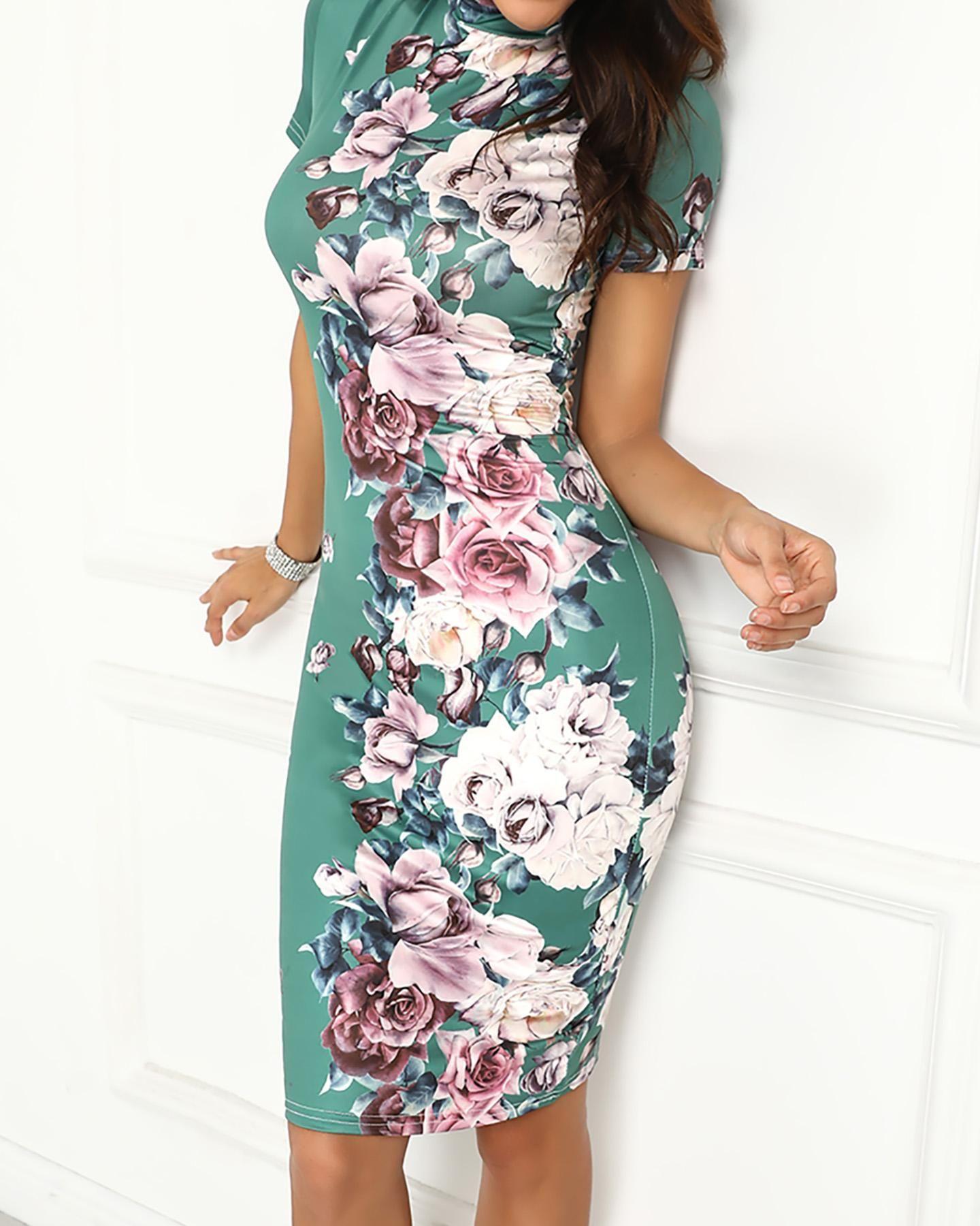 Womens Floral Printed Khloe Kardashian Long Sleeves Ladies Bodycon Mini Dress
