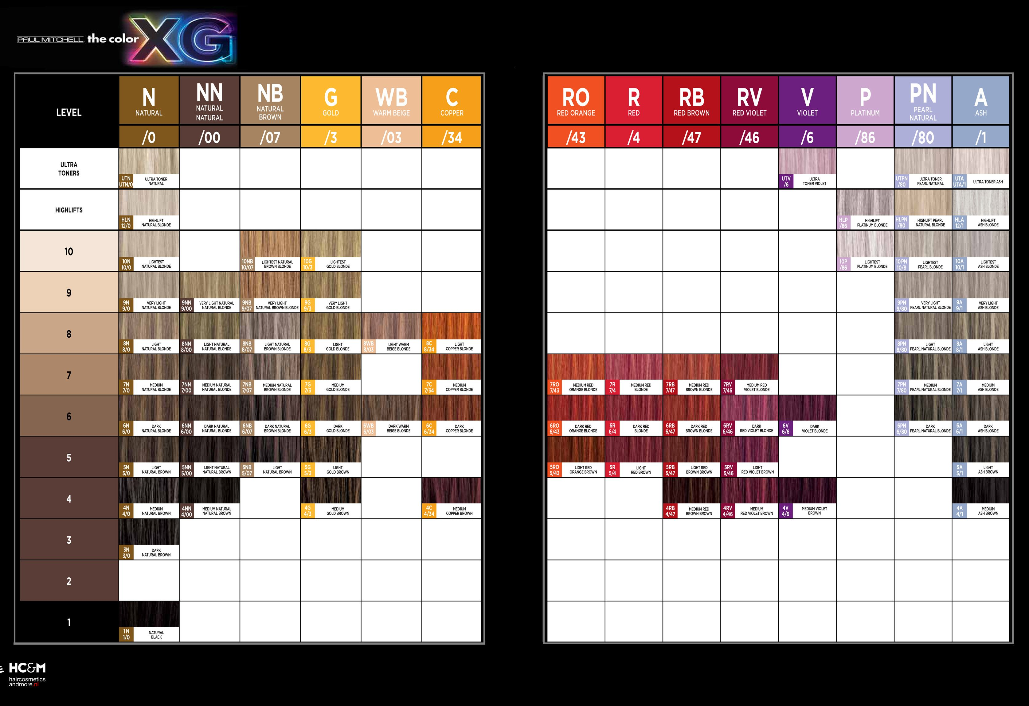 Paul Mitchell The Color Xg Color Chart Color Charts