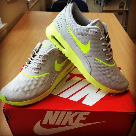 Nike Grey and Yellow Air Max Thea