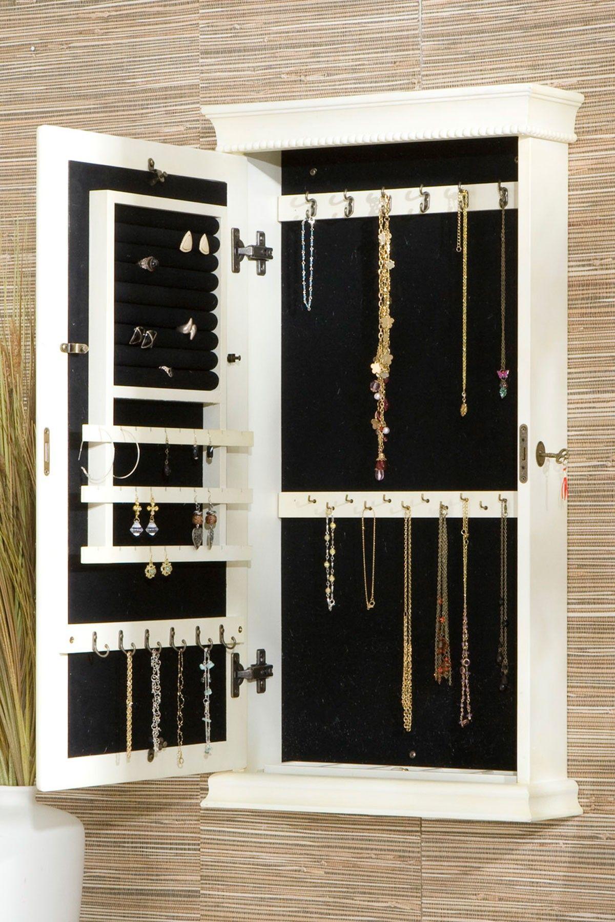 Eliza Antique Jewelry Armoire White Hautelook Jewelry