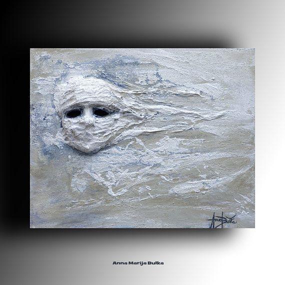 ABSTRACT PAINTING Mask Acrylic canvas Original Painting Mixed media ...