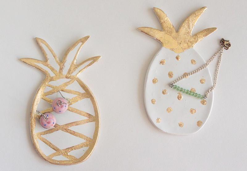 DIY Tutorial DIY Clay Jewelry Dish DIY Gold Leaf Pineapple Ring