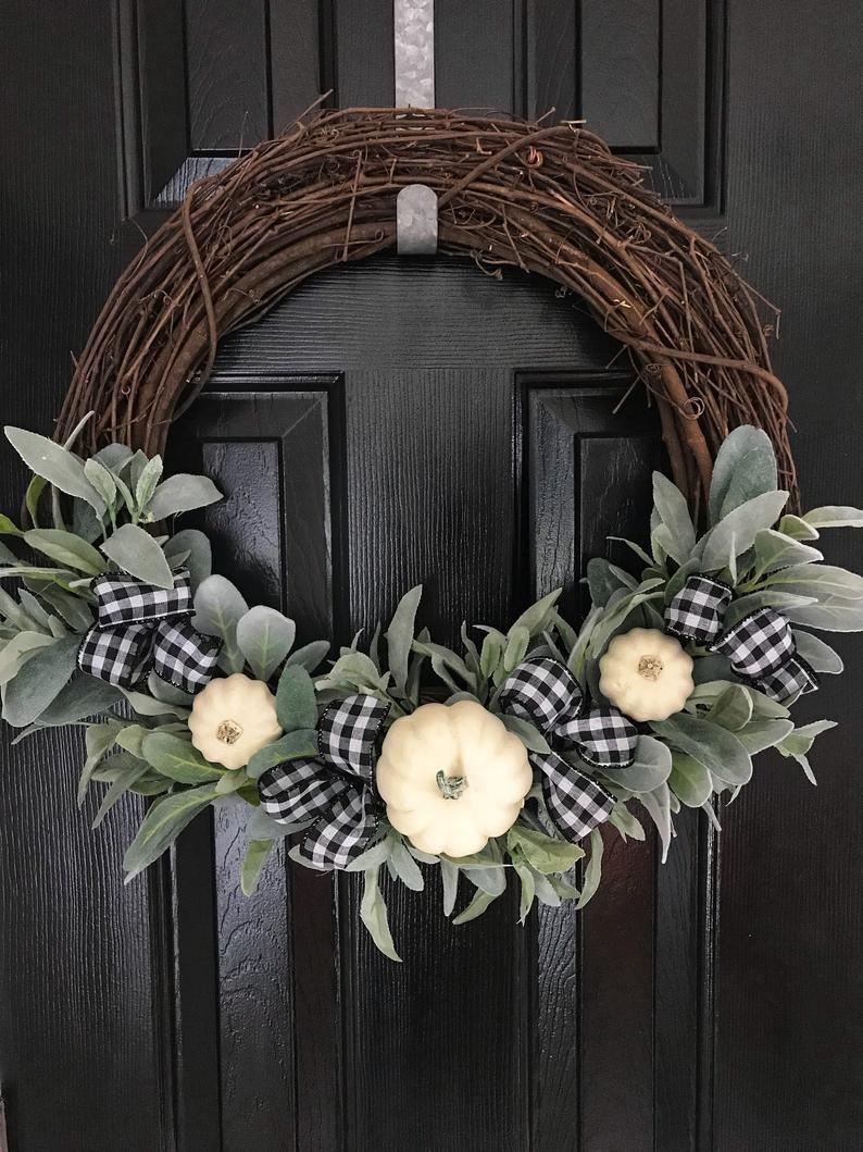 Fall Wreath~White Pumpkin Wreath~Thanksgiving Wreath~Farmhouse Wreath~Rustic Wreath~Autumn Wreath~Fixer Upper Style~ Home Decor