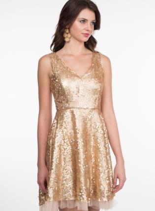 5bf4f0c59d7e Gold Sleeveless Sequin Dress with Tulle Underlay   V-Back