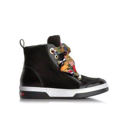 50 Love Moschino Czarne Trampki Skorzane Modne Sneakers Shoes High Top Sneakers