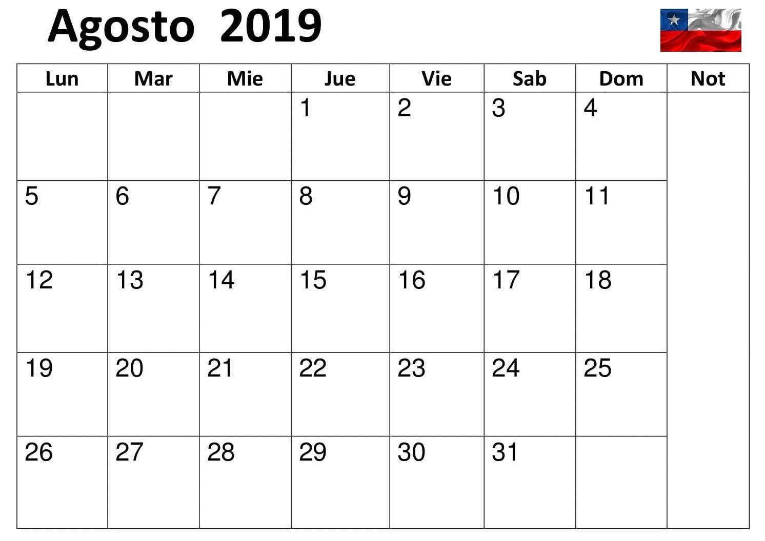 Calendario De Agosto 2019 Chile.Calendario Agosto Mes 2019 Chile Cuadro Mensual Negocios