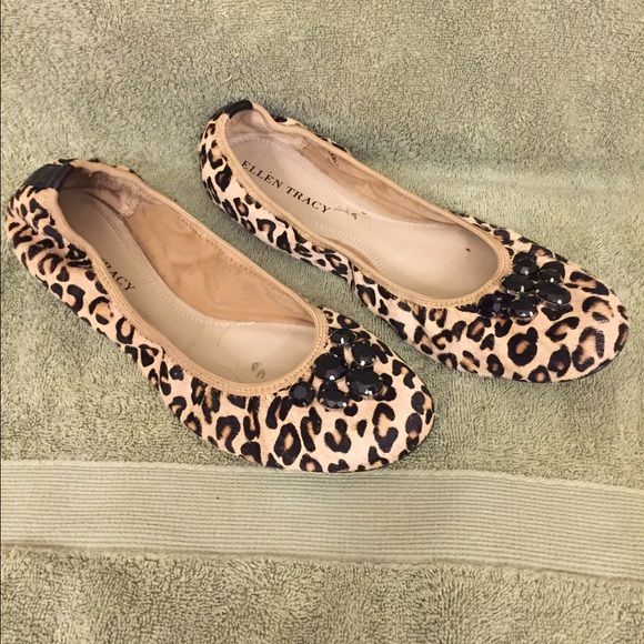 Leopard print flats Adorable leopard print flats with black jewel embezzlements. Only worn twice and in excellent condition. Ellen Tracy Shoes Flats & Loafers
