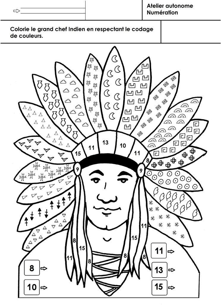 Les Indiens Damérique Coloriage Selon Un Codage 3 Cowboy Indien