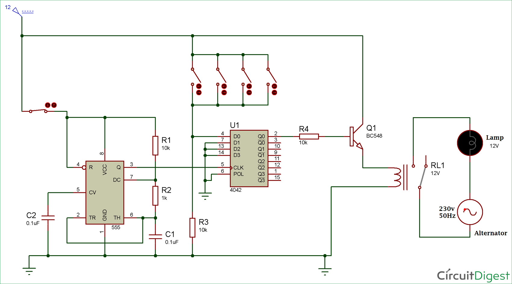 Schematic Of Two Lm3914 Ics Cacaded Together To Get A 20 Led Voltage Multi Way Switch Circuit Diagram Electronic Diagrams