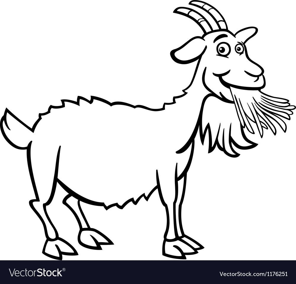 Farm Goat Cartoon For Coloring Book Vector Image On Vectorstock Goat Cartoon Coloring Books Fnaf Coloring Pages