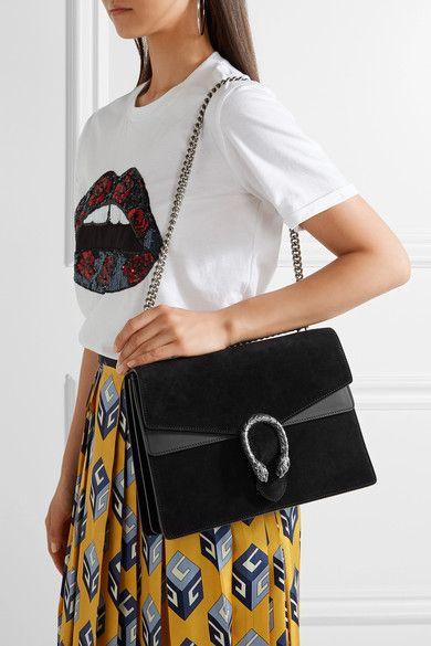 feafcfe8a6d8 Gucci - Dionysus Medium Suede And Leather Shoulder Bag - Black ...