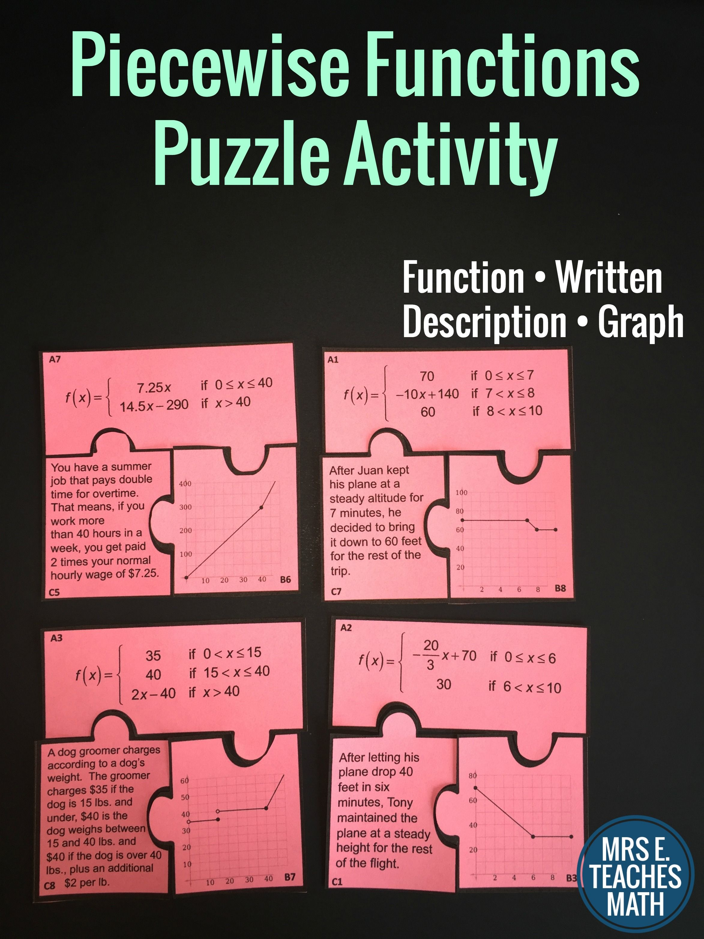 Piecewise Functions Cut Out Puzzle Resources For High School Description Of Function Activity Students Match The Graph And A In Words