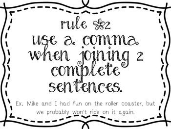 Comma Practice for the Five Rules by The Niemans' Nook