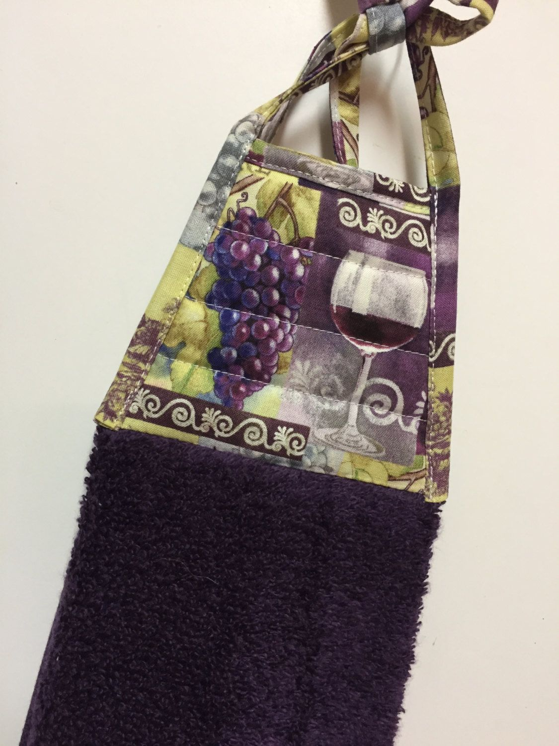 Wine And Grapes  Grapes Kitchen Towel   Wine Kitchen Towel  Grapes Kitchen  Accessories  Wine Tea Towel  Purple Towel  Hostess Gift  Mom Gift