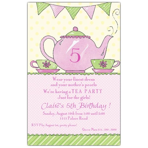 tea party invitation wording | invitations girl birthday, Party invitations