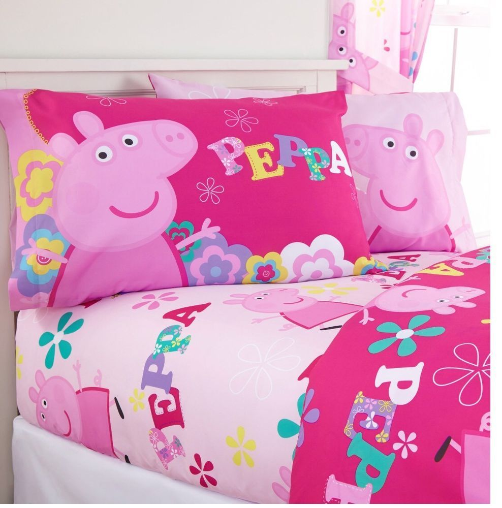 Peppa Pig Bedding Set Full Sheets Plush Bed Blanket New Kids