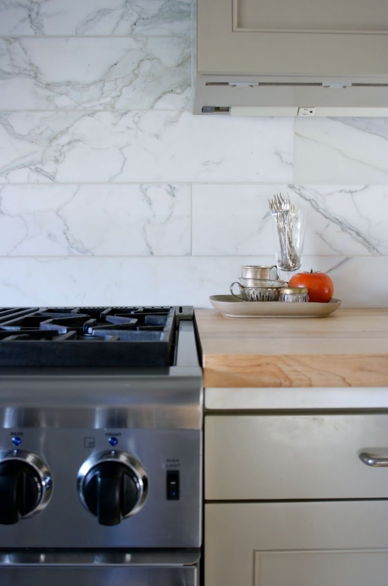 6 X 24 Marble Tile Backsplash Kitchen Ideas Pinterest